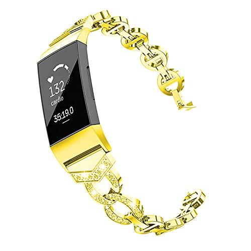 ZLYZS Banda De Reloj De Moda para Mujer Compatiblecon Charge 3 / Charge 4, Correa De Repuesto De Metal Band De Acero Inoxidable Pulsera De Joyería Strap De Diamantes De Imitación para Cargae 4/3,Oro