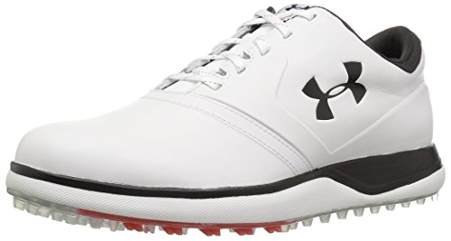 Under Armour Men's Performance Spikeless Leather Golf Shoe, White (100)/Black, 9.5