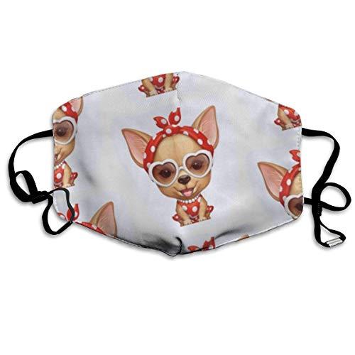 mundschutz Dust Face Cover, Earloop Half Mouth Cover, Wanderreisen mit verstellbarem Gummiband - Chihuahua Dog mit Sonnenbrille, Winddicht