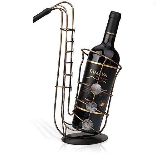 R&Xrenxia Metal Saxy Estante De Vino Artesanía Moderna Obra De Arte Titular De Vino Figurine Creativo Botella De Vino Soporte De Decoración del Hogar Accesorio