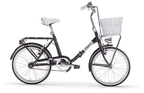 MBM Angela 20' Acc PIEGH S/CAM, Bicicleta Unisex Adulto, Negro Brillante A01, XX