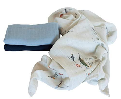 Sebra 3er Set Mulltücher 75 x 75 cm aus Baumwolle in mitternachtsblau