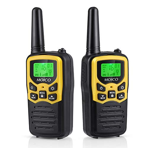 41LsEz5JIwL - Walkie Talkies Long Range for Adults Two-Way Radios Up to 5 Miles in Open Fields 22 Channels FRS/GMRS VOX Scan LCD Display with LED Flashlight Ideal for Field Survival Biking Hiking Camping 4 Pack