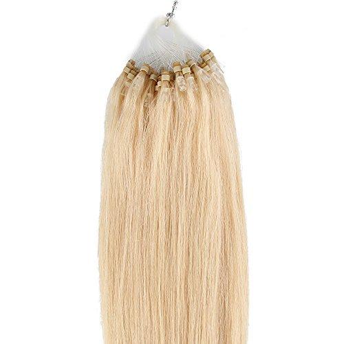 Beauty7 100 Extension de Cheveux Naturel 46 CM EASY LOOP Anneaux Pose a Froid Couleur #613 blond Poids 50g