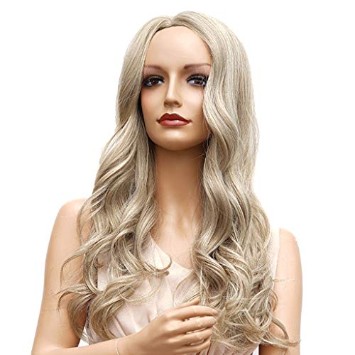 SM SunniMix Gloss Naturel Lisse Perruques Femmes Bouclés Ondulés Cosplay Perruque Perruque De Cheveux Synthétiques - Marron