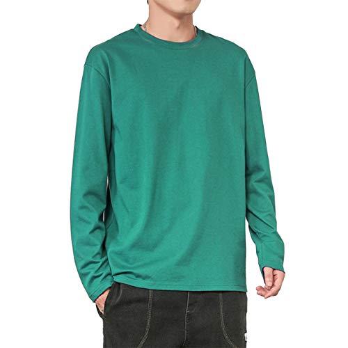 [ブロマーズ] 長袖 ロンT カジュアル 韓国 ファッション 秋 冬 春 薄手 厚手 シンプル メンズ チェック tシャツ yシャツ シャツ アウター インナー グリーン XL