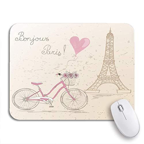 Gaming mouse pad rosa fahrradkorb voller blumen eiffelturm rutschfeste gummi backing computer mousepad für notebooks maus matten