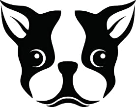 CCI Boston Terrier Dog Face Decal Vinyl Sticker|Cars Trucks Vans Walls Laptop| Black |5.5 x 4.5 in|CCI488
