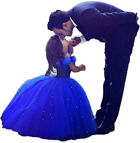 Girls Cinderella Princess Pageant Ball Gowns Kids Tulle Flower Girls Dresses Royal Blue Size 4