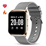 GOKOO Smart Watch for Men Women Fitness Tracker with All-Day Heart Rate Monitor Waterproof IP68 Sleep Monitor Pedometer Step Calorie Kilometer Music Camera Remote Full Touch Smartwatch (Grey)