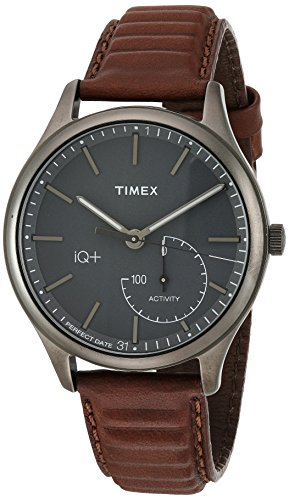 Timex Men's TW2P94800 IQ+ Move Activity Tracker Brown Leather Strap Smartwatch