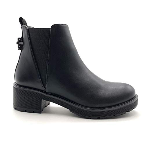 Angkorly - Damskie buty botki - Biker - Biker - Chelsea Boots - lakierowane - kokardka - obcas blokowy 4,5 cm, czarny - czarny - 36 EU