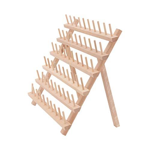 Queiting Garnregal aus Holz 60 Spulen Holz gefaltetes Garnregal für Holzaufbewahrung Garnspulenständer Nähkegel Aufbewahrung Organizer Nähen Stickerei Spulen und Rack