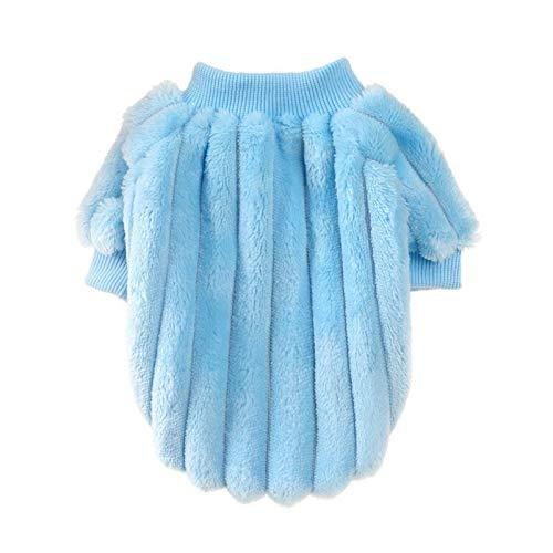LIUCHANG Ropa de felpa cálida para mascotas de peluche, color rosa, cálida ropa de gato, para invierno, para mascotas, cachorros, gatitos, ropa de felpa (color: azul, tamaño: M) liuchang20
