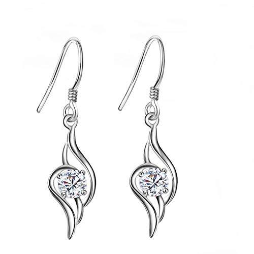 TULIP LY - Pendientes colgantes de cristal chapados en platino con circonita cúbica con forma de corazón, pendientes de gota CZ para mujer y niña