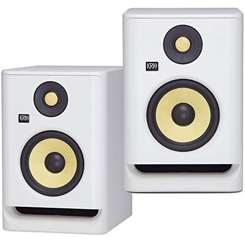 (2) KRK ROKIT RP7 G4 7' Bi-Amped Studio Monitor DSP Speakers White Noise Edition