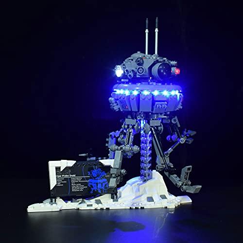 xSuper 75306 - Kit di illuminazione a LED Droid, compatibile con Lego Imperial Sonde Droid, set da costruzione (LED incluso, nessun kit Lego) - controllato da targhetta (blu ghiaccio)