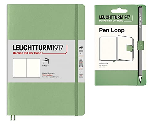 Leuchtturm1917 - Cuaderno de tapa blanda A5 con rayas medianas (forradas), color verde salvia