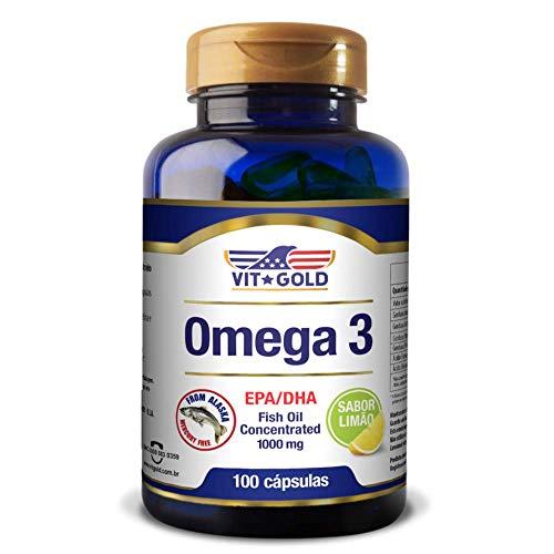 Omega 3 Fish Oil 1.000mg Vitgold 100 cápsulas Sabor Limão