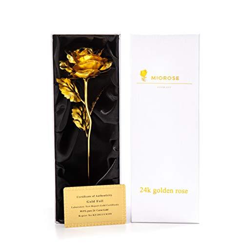 24k Gold Rose, ewige Rose, handgefertigt, vergoldet, konservierte Rose Blume - mit Geschenkbox und Echtheitszertifikat - Geschenkidee für Freundin Frau Mutter Oma für Geburtstag Jahrestag Weihnachten