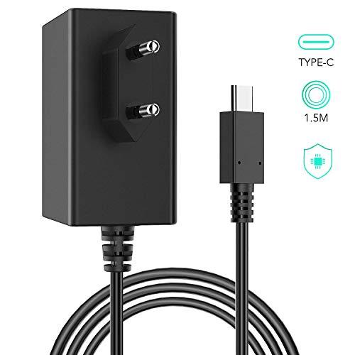 Adaptador de Corriente para Nintendo Switch, AGPTEK AC Cargador de Viaje de Type C con Doble Voltaje 5V-1.5A/15V-2.6A 1.5m Cable Compatible com Modo TV