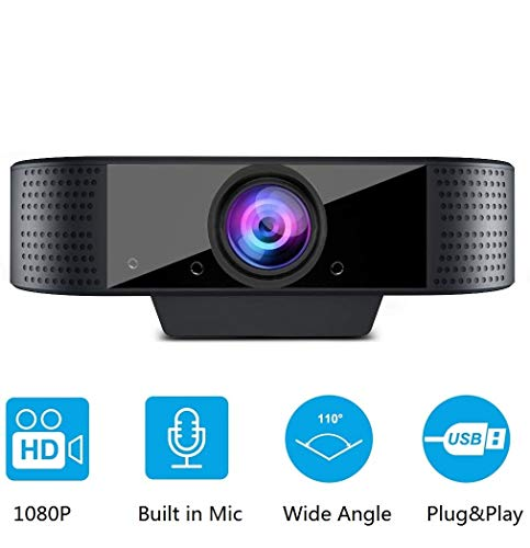 Webcam 1080p Full HD con Microfono, USB Videocamera Webcam per pc Fisso, per Teleconferenza, Videochiamate, Studio, Conferenza, Registrazione, Gioca e