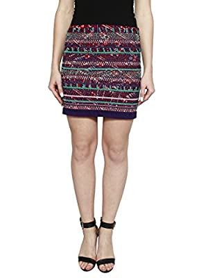I AM FOR YOU Viscose Embroidery Mini Skirt for Women's & Girl's - (Multicolor)