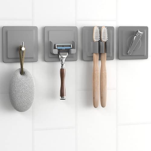 LOBUX® - 4in1 Badezimmer Halter Set selbstklebend [Soft-Touch Silikon], superfester Halt - Bad Organizer beinhaltet: Rasierhalter, Zahnbürstenhalter, Haken, Neodym Magnet (hellgrau)