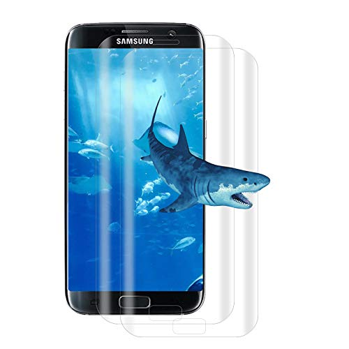 【2 Pièces】Verre Trempé pour Samsung Galaxy S7 Edge, [3D Couverture plein écran] Dureté 9H, anti-bulles, HD, anti-empreintes digitales, film en verre trempé pour Samsung S7 Edge - transparent