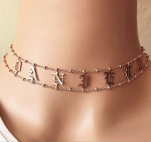 Name choker English Bold Gotic New products, world's highest quality popular! sterlin initials 925 name Quantity limited