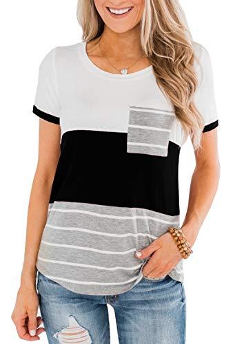 ZC&GF Women's Round Neck Color Block Stripe T-Shirt Pocket Tops Blouses Black