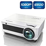 Projector, YABER Native 1080P Movie Projector with 6500 Lumens 78,000 Hours X/Y Zoom Function, Full HD Video Projector Compatible with iPhone,Android,PC,TV Box,PS4 for Home/Outdoor/Gaming (White)