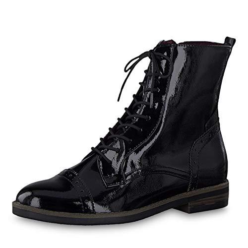 Tamaris Damen Stiefeletten 25119-23, Frauen Schnürstiefelette, elegant Women's Woman Freizeit leger Stiefel Chukka Boot,Black PATENT,38 EU / 5 UK
