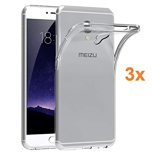 Pack 3X Transparente Silikonhülle TPU für MEIZU MX6, Handyhülle Premium Kratzfest TPU Durchsichtige Schutzhülle, Ultradünne 0,33 mm, Elektronik König®