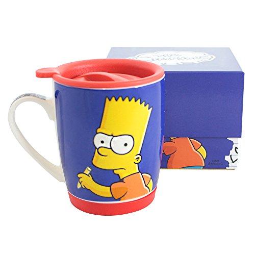 Caneca com Tampa e Base de Silicone the Simpsons Caneca Azul Único