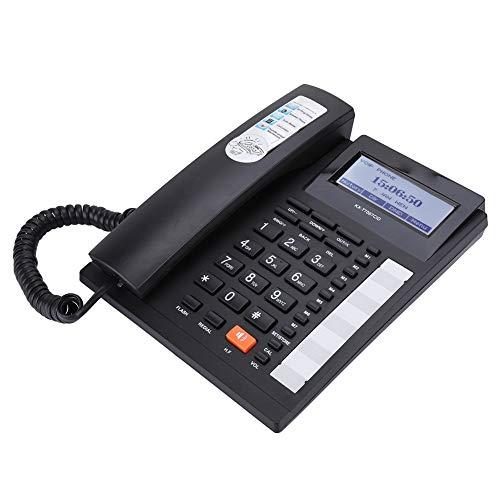 VBESTLIFE Schnurgebundenes Telefon mit Kabel und Lautsprecher LCD Display,Kabelgebundenes Festnetztelefon für Büro / Zuhause / Hotel.(schwarz)