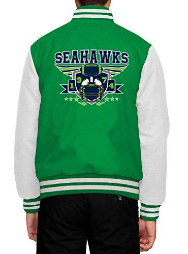Shirt Happenz Seahawks Collegejacke | 1974 | Super Bowl | American Football | Herren | Baseballjacke, Farbe:Hellgrün;Größe:XL
