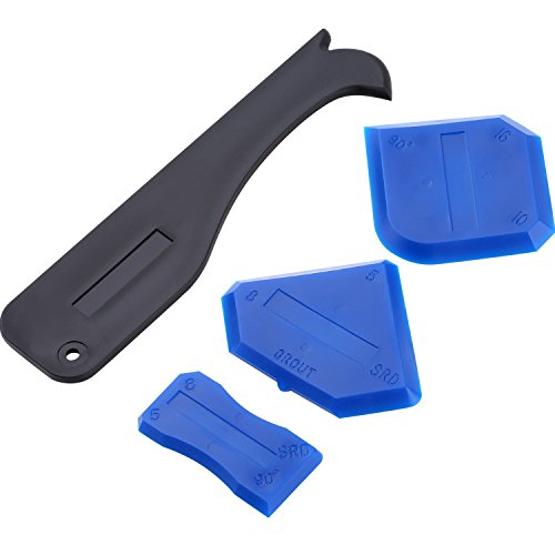 Outus 4 Pieces Sealant Tool Caulking Tool Kit for Bathroom Kitchen and Frames Sealant Seals (Black, Blue)