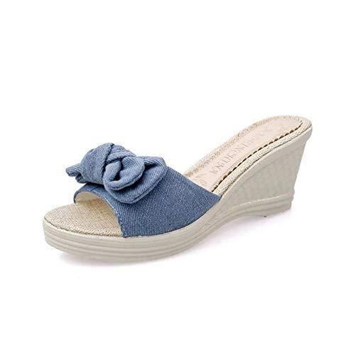 WENHUA Niño Niña Playa Zapatillas Sandalias, Cuña Bowknot con Chanclas, Sandalias de Mujer Zapatos de Playa-Blue_35, Zapatillas de Playa y Piscina