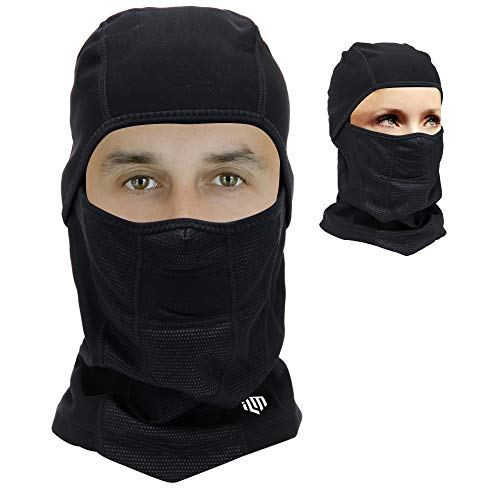 ILM Motorcycle Balaclava Ski Mask Riding All Season Headwear for Skateboard Mountain Bike Hunting Running Working Winter Cold Weather Fits Men Women (Black)