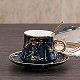 CJHYY Juego de platillo y Taza de café de cerámica Verde Real, Moderno y sólido, Taza Creativa de Lujo, Tazas de té de la Tarde turca, Regalo