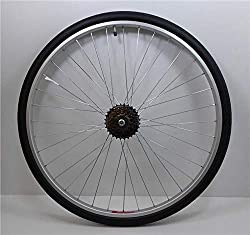 "This wheel is suitable for 700c / 28"" wheeled hybrid / trekking bikes is fitted with a 700 x 35c Impac Streetpac Tyre & Schrader valved tube 700c Silver coloured single wall alloy rim - 25mm (1"") wide - 638mm (25"" approx) overall diameter with 36 gal..."
