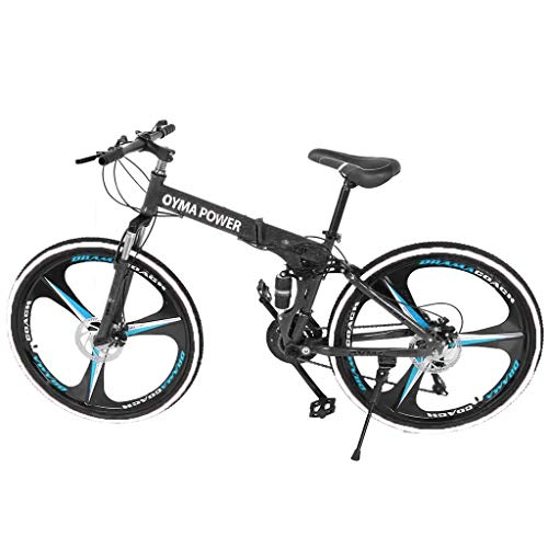 Homlpope Folding Bikes 26in Mountain Bike 21 Speed Bicycle Full Suspension MTB Outdoor