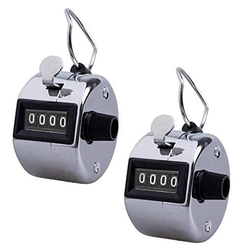 Greenf 2 contadores manuales por paquete, número mecánico anillo rastreador clicker con anillo de metal (plata)