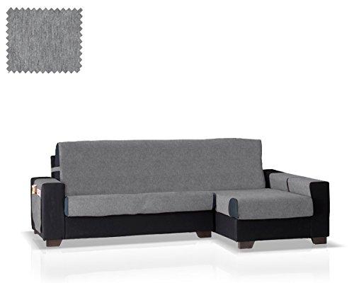 JM Textil Husse für Sofa mit Ottomane Larissa Ottomane rechts, Größe: normal (245 cm), Farbe Grau