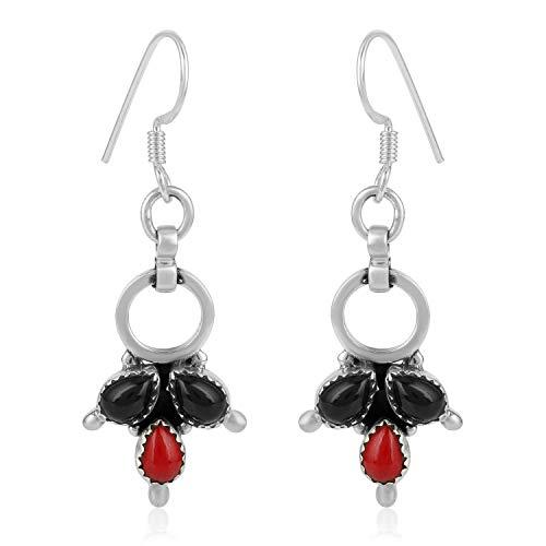 Gemshiner Pendientes colgantes de coral y ónix negro estilo vintage en plata de ley 925 para mujeres y niñas