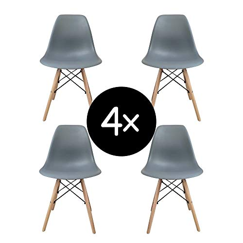 Krok Wood 4-er Set Dominik Esszimmerstuhl Wohnzimmerstuhl Bürostuhl, Kunststoff Stühl (Dunkel grau)