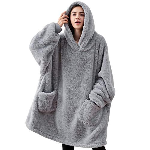 Bedsure Batamanta Mujer Polar Invierno - Bata Manta para Hombre con Capucha, Sudadera Manta con Mangas, Hoodie Blanket de Tejido Felpa Suave con Bolsillo Frontal, Gris, 95x85