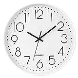 Jenngaoo Reloj de Pared Moderno, 12 Pulgadas Reloj Colgante de Cuarzo Silencioso Sencillez Reloj de Pared Redondo para el Hogar, Dormitorio, Sala de Estar, Cocina (Perla Blanca)