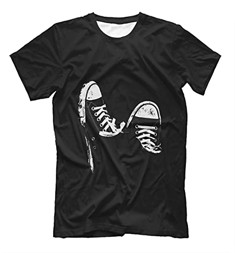Print with Sneakers t-Shirt - Keds Canvas Shoes Converse Art Tee Rock Black L